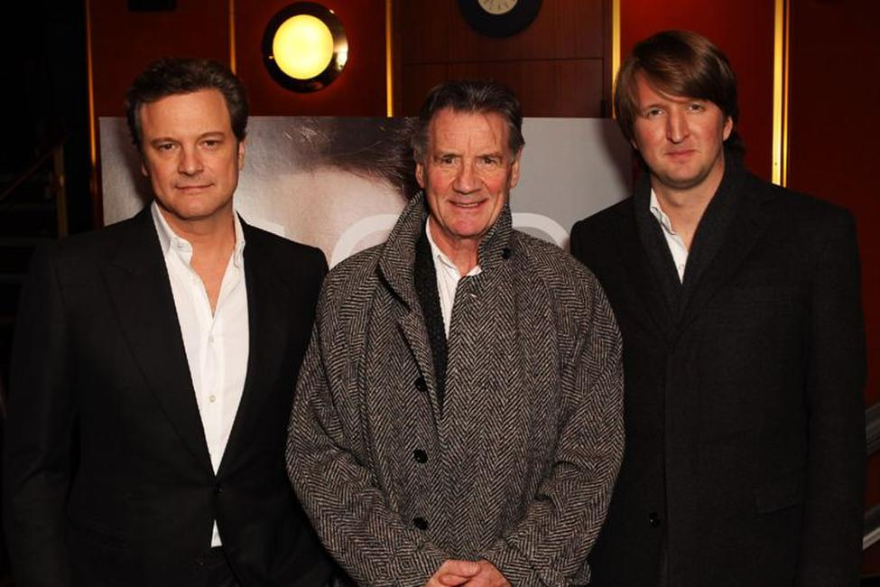 Colin Firth, Michael Palin and Tom Hooper at the charity screening of