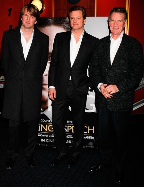 Tom Hooper, Colin Firth and Michael Palin at the charity screening of