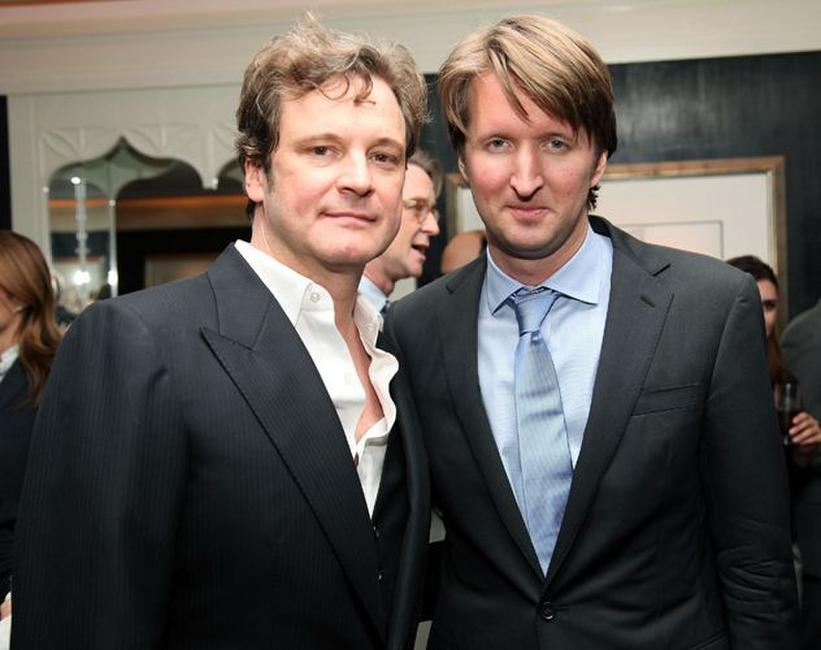 Colin Firth and Tom Hooper at the luncheon for