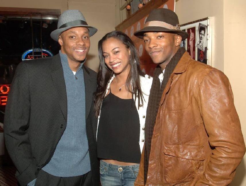Dorian Missick, Zoe Saldana and Anthony Mackie at the after party of the off-Broadway opening of