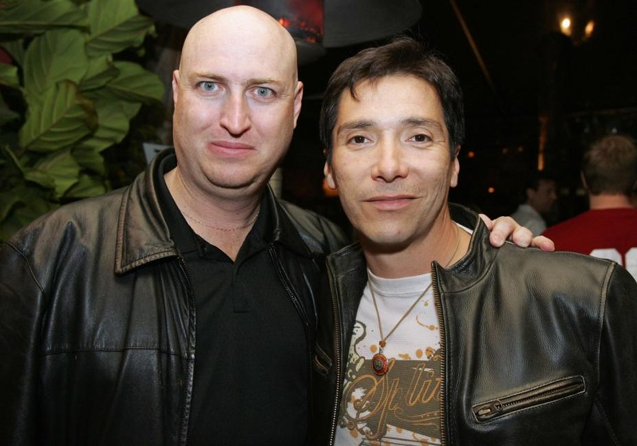 Shawn Ryan and Benito Martinez at the Shield seasons 5 and 6 DVD launch party.