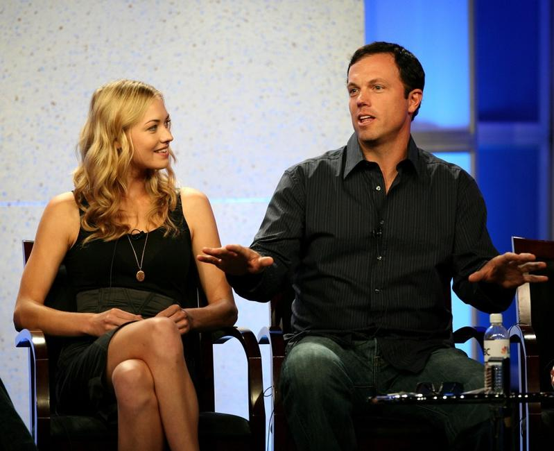 Adam Baldwin and Yvonne Strahovski at the 2007 Summer Television Critics Association Press Tour for NBC.