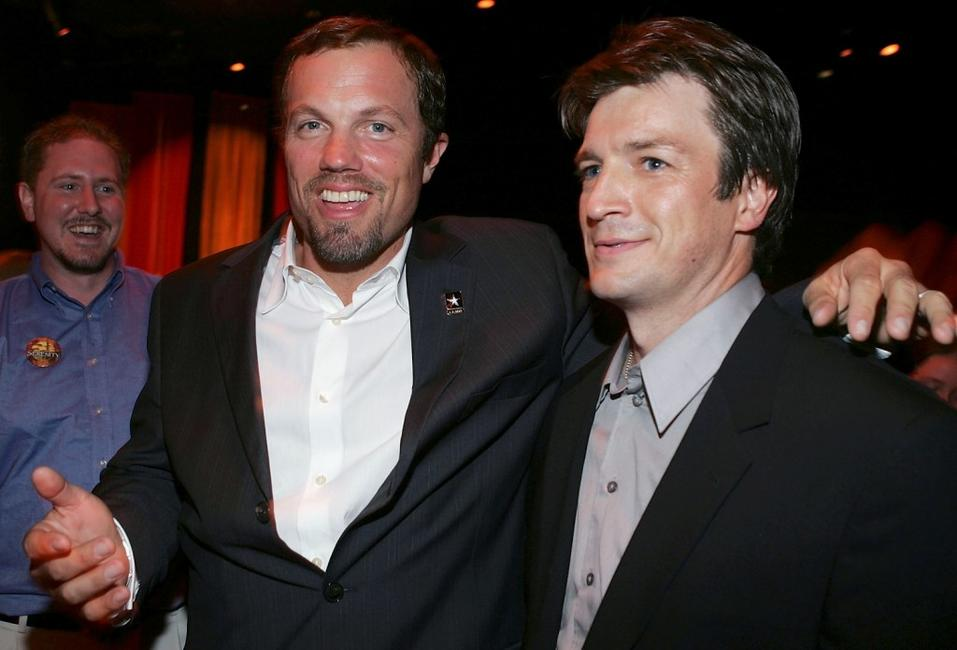 Adam Baldwin and Nathan Fillion at the Premiere of