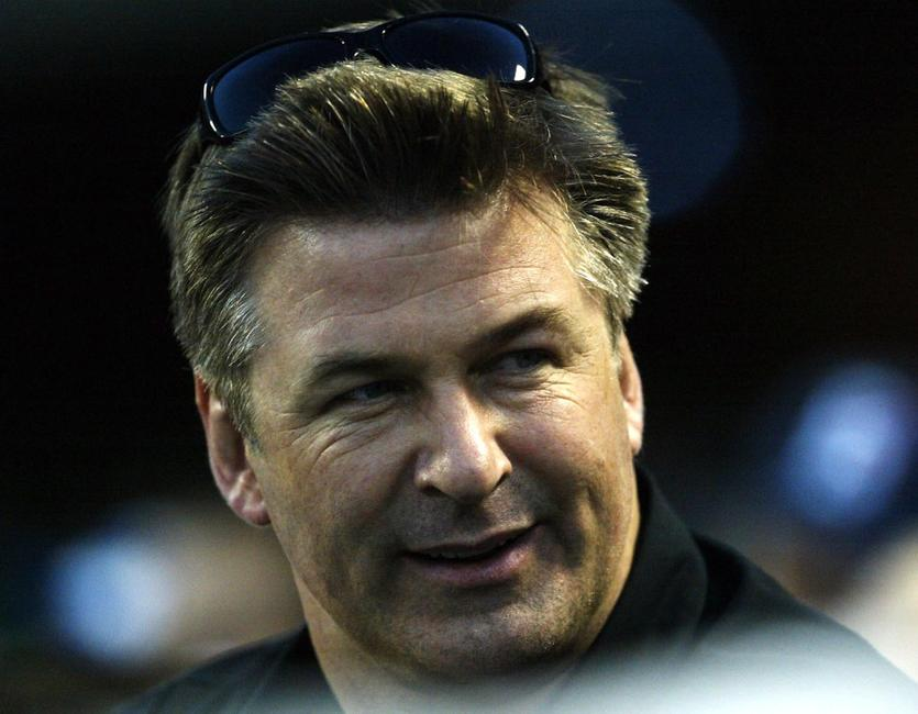 Alec Baldwin at the game between the Los Angeles Dodgers and the New York Yankees.