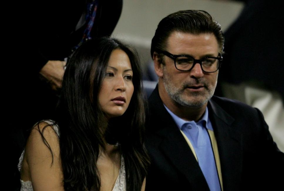 Alec Baldwin and Nicole Seidel at the quarterfinals of the US Open.