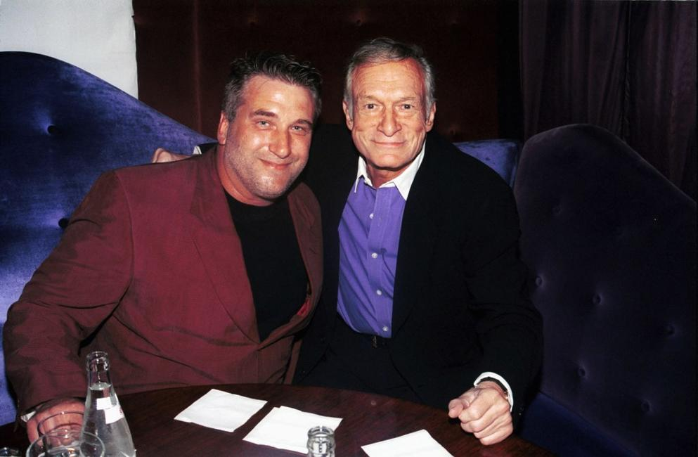 Daniel Baldwin and Hugh Hefner at the Annual Benchwarmer party.