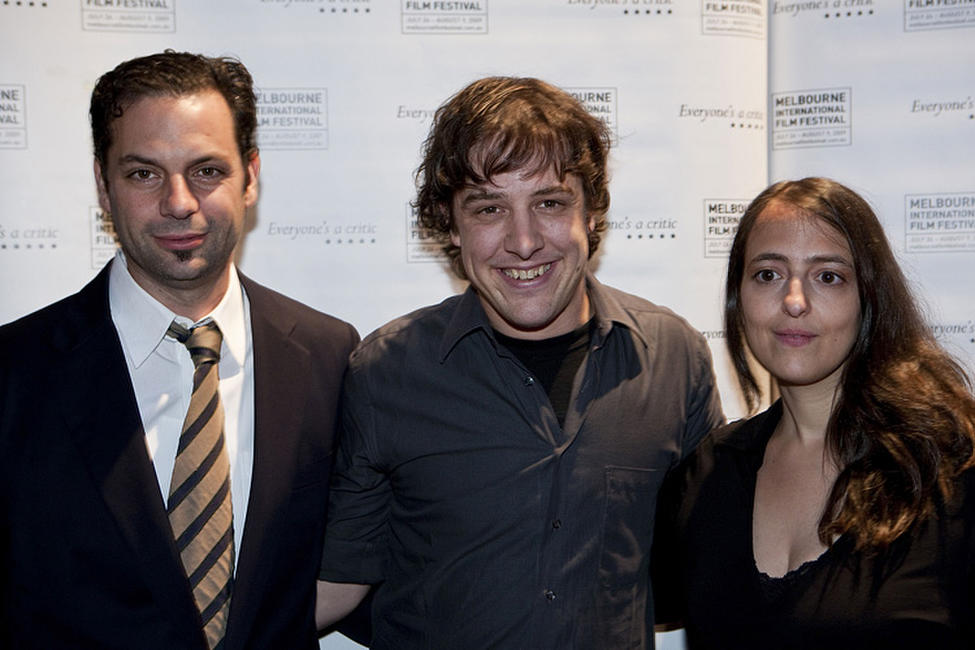 Emile Sherman, Samuel Johnson and Tatia Rosenthal at the Melbourne premiere of