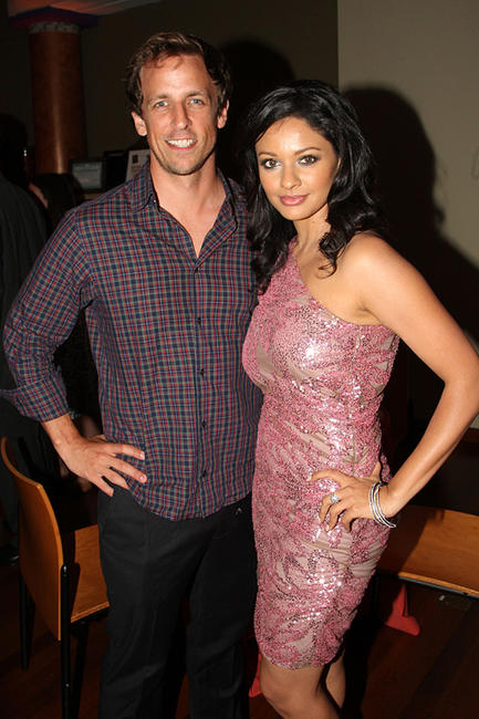 Seth Meyers and Pooja Kumar at the after party of the New York premiere of