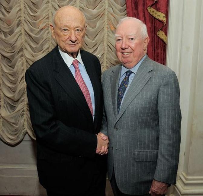 Ed Koch and James F. Gill at the celebration of Koch's 85th Birthday and Anniversary.