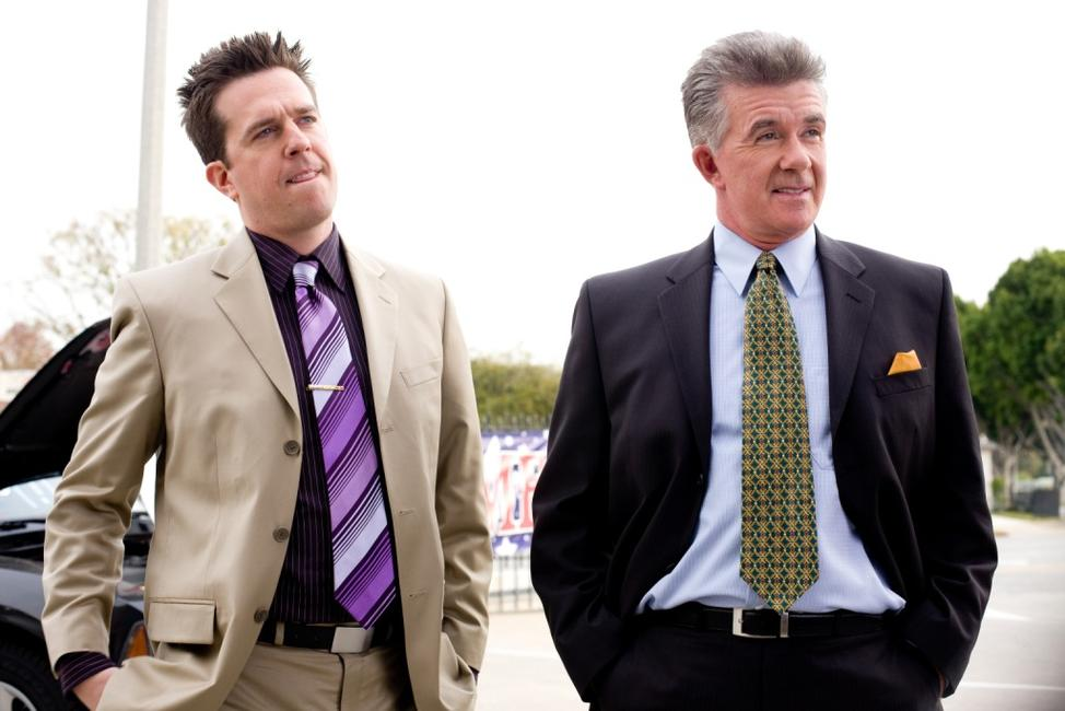 Ed Helms as Paxton Harding and Alan Thicke as Stu Harding in