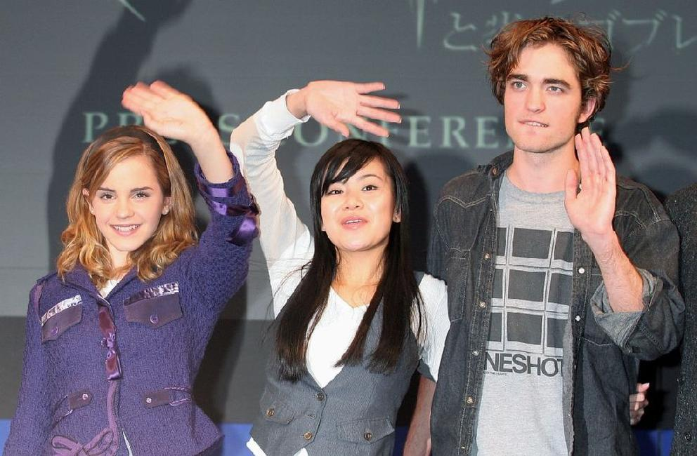 Emma Watson, Katie Leung and Robert Pattinson at the press conference of