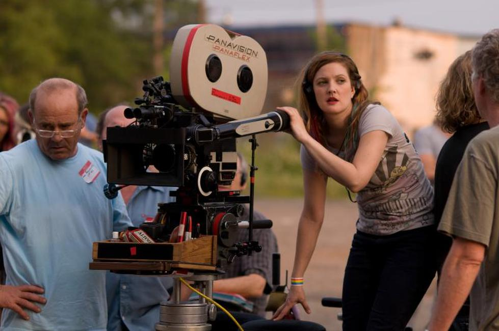 Director Drew Barrymore on the set of