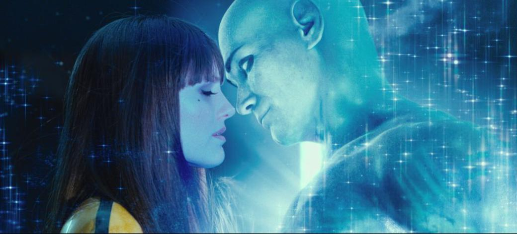 Malin Akerman as Silk Spectre II and Billy Crudup as Dr. Manhattan in