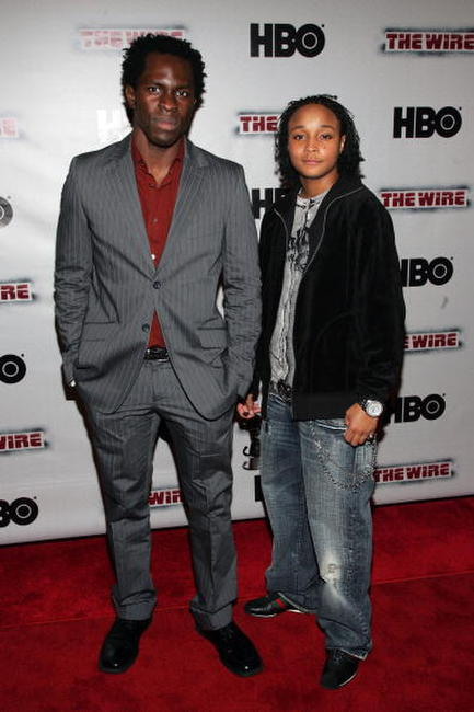 Gbenga Akinnagbe and Felicia Pearson at the premiere of