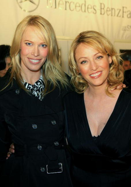 Virginia Madsen and Lesa Amoore at the Mercedes Benz Fashion Week held at Smashbox Studios.