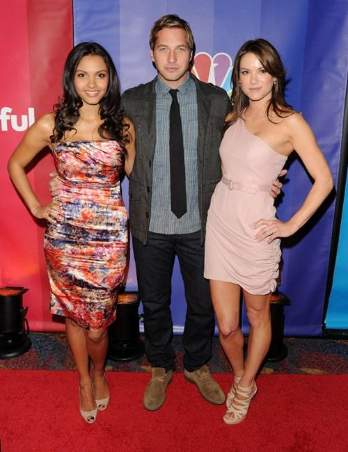 Jessica Lucas, Ryan Hansen and Danneel Harris at the 2010 NBC Upfront presentation.