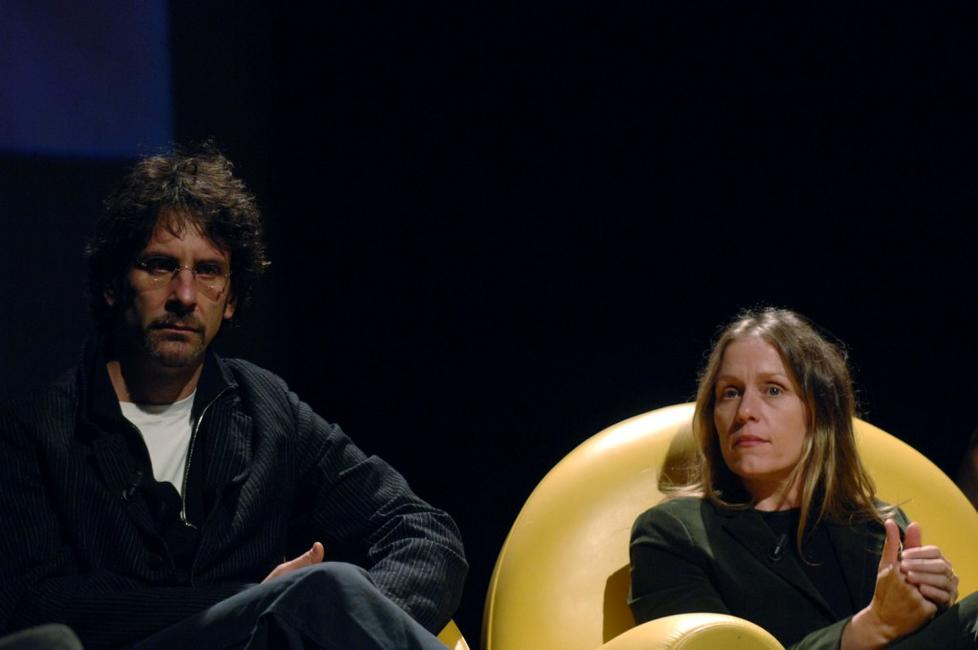 Frances McDormand and Joel Coen at the meeting about the American Cinema at the Auditorium of the Music.