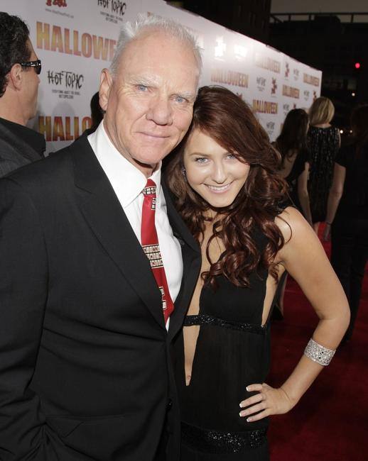 Malcolm McDowell and Scout Taylor Compton at the premiere of MGM's