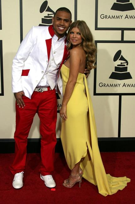 Chris Brown and Fergie at the 50th annual Grammy awards.