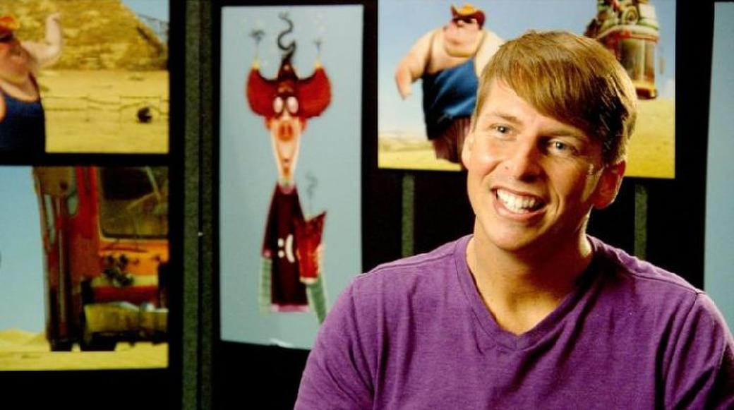 Jack McBrayer on the set of