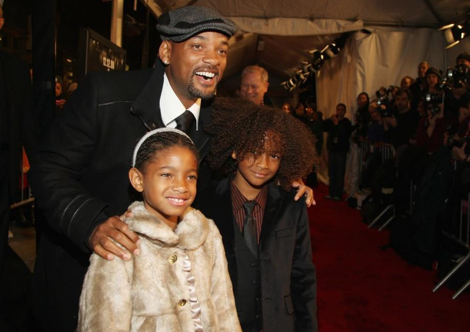 Willow Smith, Will Smith and Jaden Smith at the premiere of