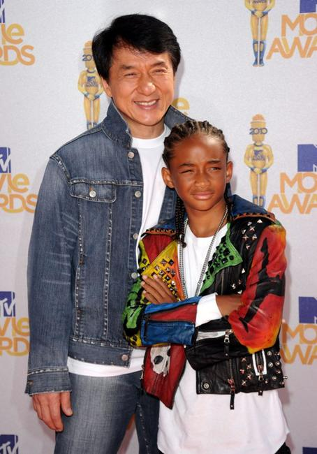 Jackie Chan and Jaden Smith at the 2010 MTV Movie Awards.