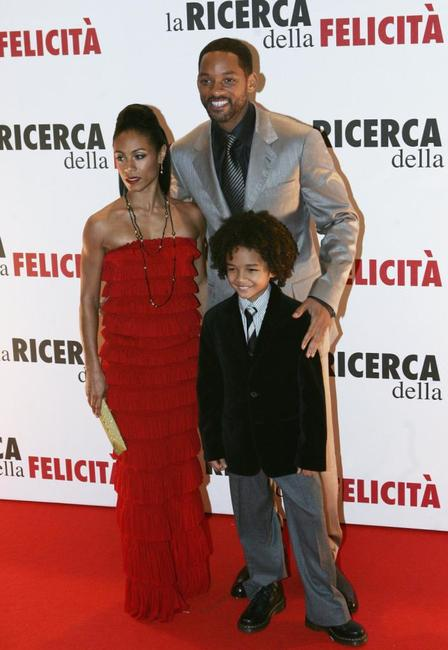 Jada Pinkett Smith, Will Smith and Jaden Smith at the Italian premiere of