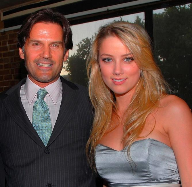 D.W. Moffett and Amber Heard at the premiere party of