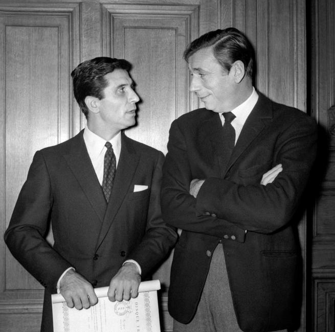 Yves Montand and French crooners Gilbert Beaud at the 1964 award ceremony during the
