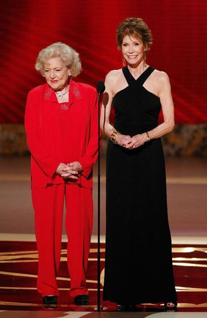 Betty White and Mary Tyler Moore at the 60th Primetime Emmy Awards.
