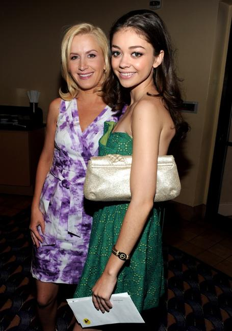 Angela Kinsey and Sarah Hyland at the premiere of