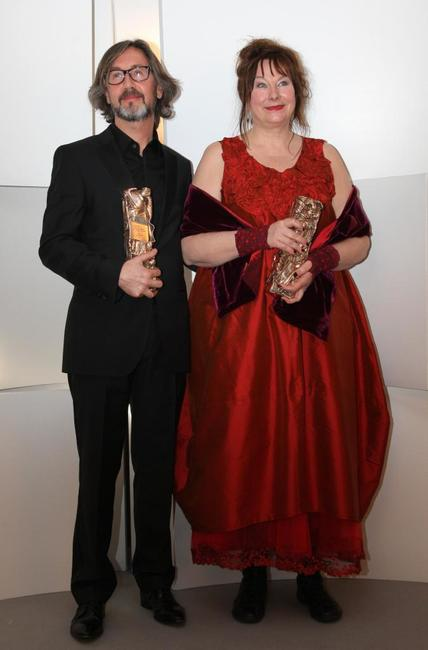 Director Martin Provost and Yolande Moreau at the 34th Cesars French Film Awards ceremony.