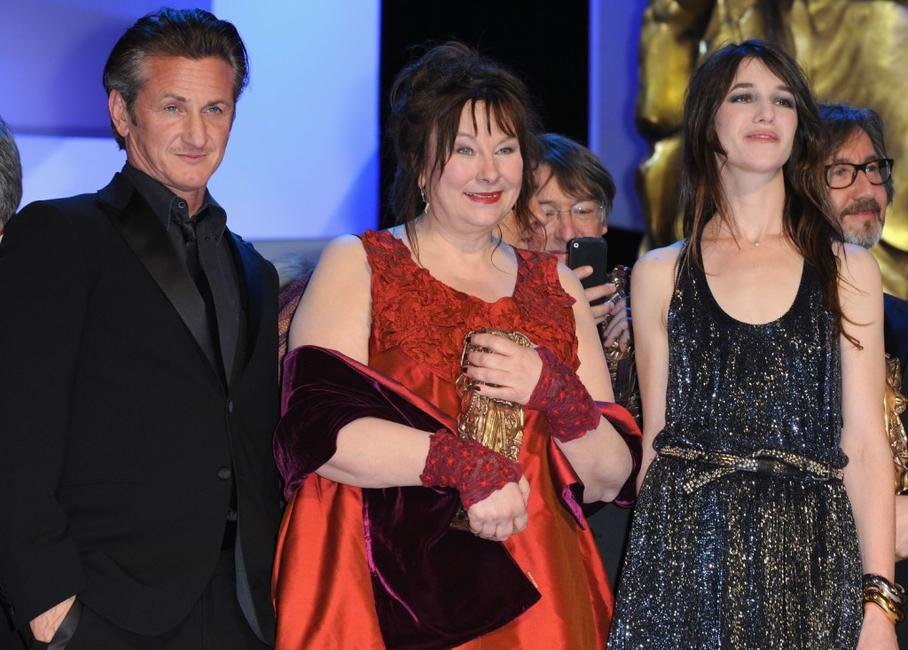 Sean Penn, Yolande Moreau and Charlotte Gainsbourg at the Cesar Film Awards.