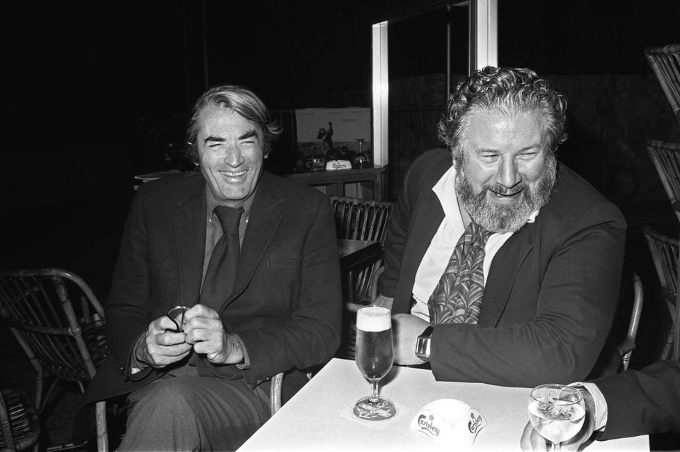 Gregory Peck and Sir Peter Ustinov at the Cannes Film Festival 1972.