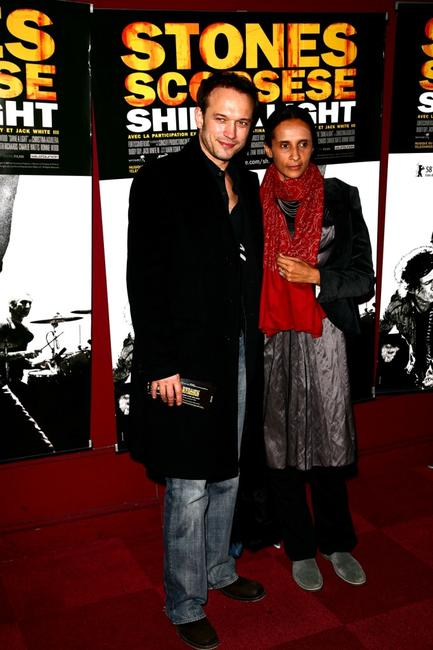 Vincent Perez and his wife at the Paris premiere of