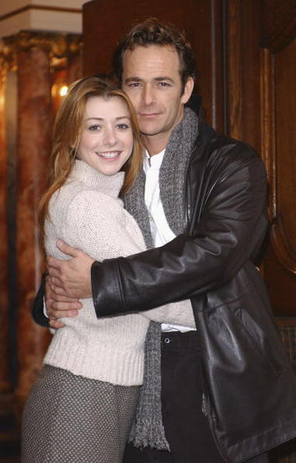 Alyson Hannigan and Luke Perry at the press launch of