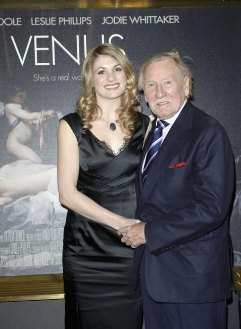 Jodie Whittaker and Leslie Phillips at the premiere of