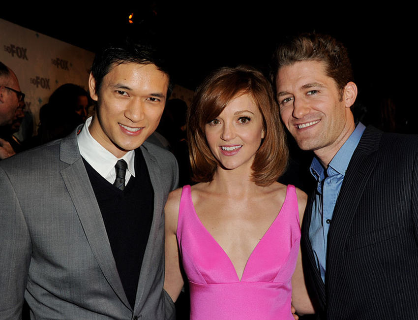 Harry Shum, Jr., Jayma Mays and Matthew Morrison at the Fox TV's TCA All-Star party in California.