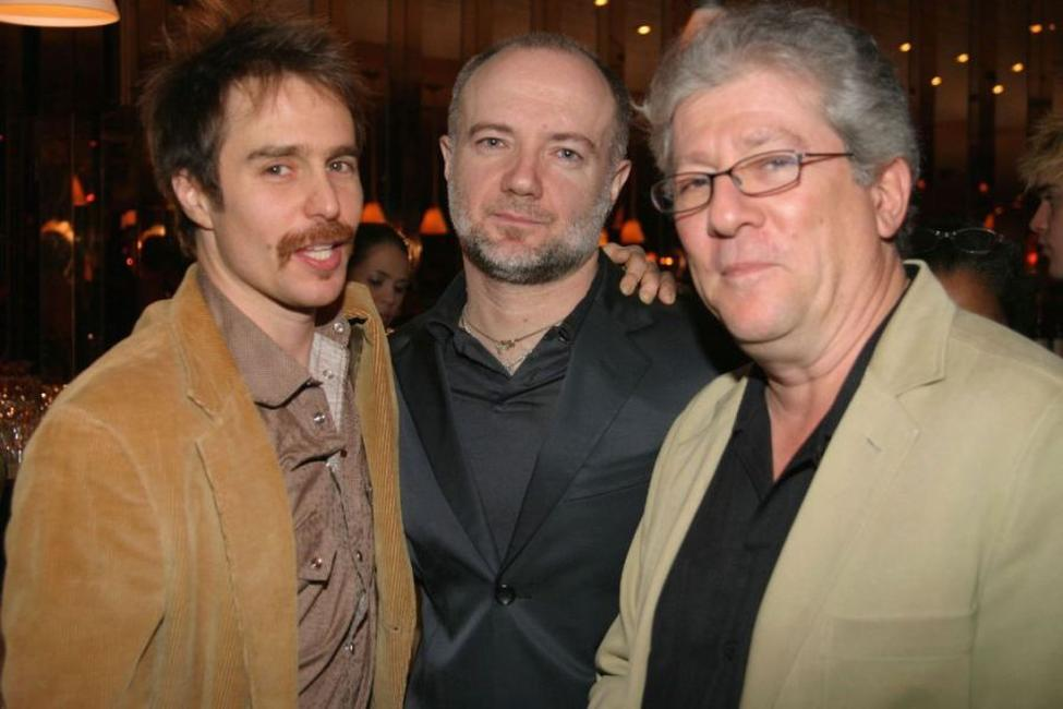Sam Rockwell, Frank Pugliese and Peter Riegert at the New York Stage and Film 2004 gala.