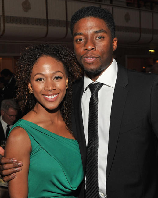 Nicole Beharie and Chadwick Boseman at the 2012 Jackie Robinson Foundation Awards Gala in New York.