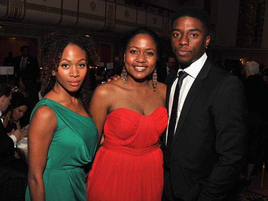 Nicole Beharie, Sonya Pankey and Chadwick Boseman at the 2012 Jackie Robinson Foundation Awards Gala in New York.