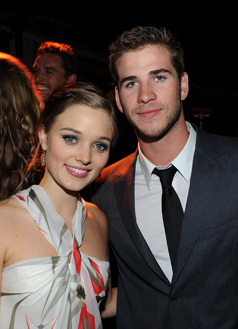 Bella Heathcote and Liam Hemsworth at the Australians In Film's 2010 Breakthrough Awards in California.