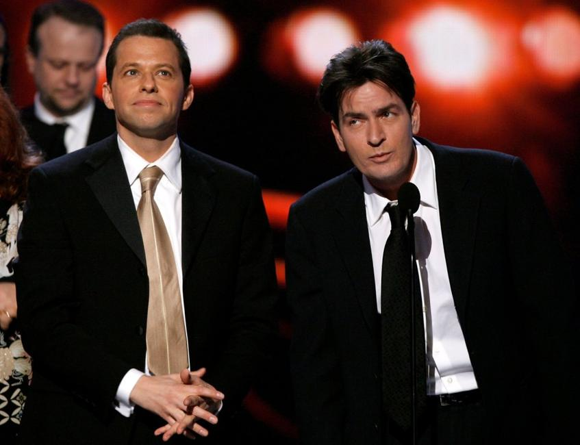 Charlie Sheen and John Cryer at the 33rd Annual Peoples Choice Awards held at the Shrine Auditorium.