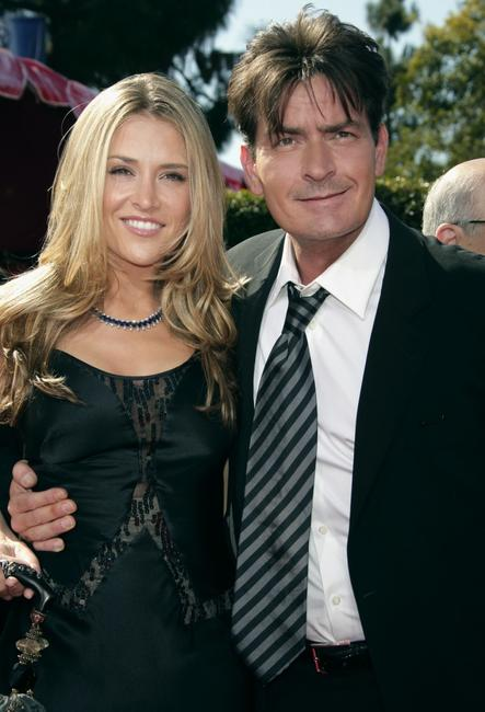 Charlie Sheen and his fiancee Brooke Mueller at the 59th Annual Primetime Emmy Awards at the Shrine Auditorium.
