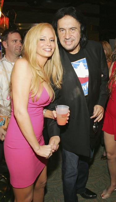 Cindy Margolis and Gene Simmons at the grand opening of Hooters Casino Hotel.