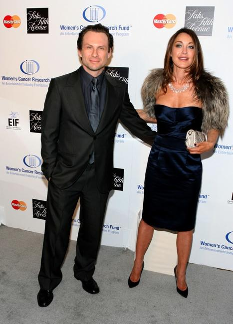 Christian Slater and Tamara Mellon at the Saks Fifth Avenue's