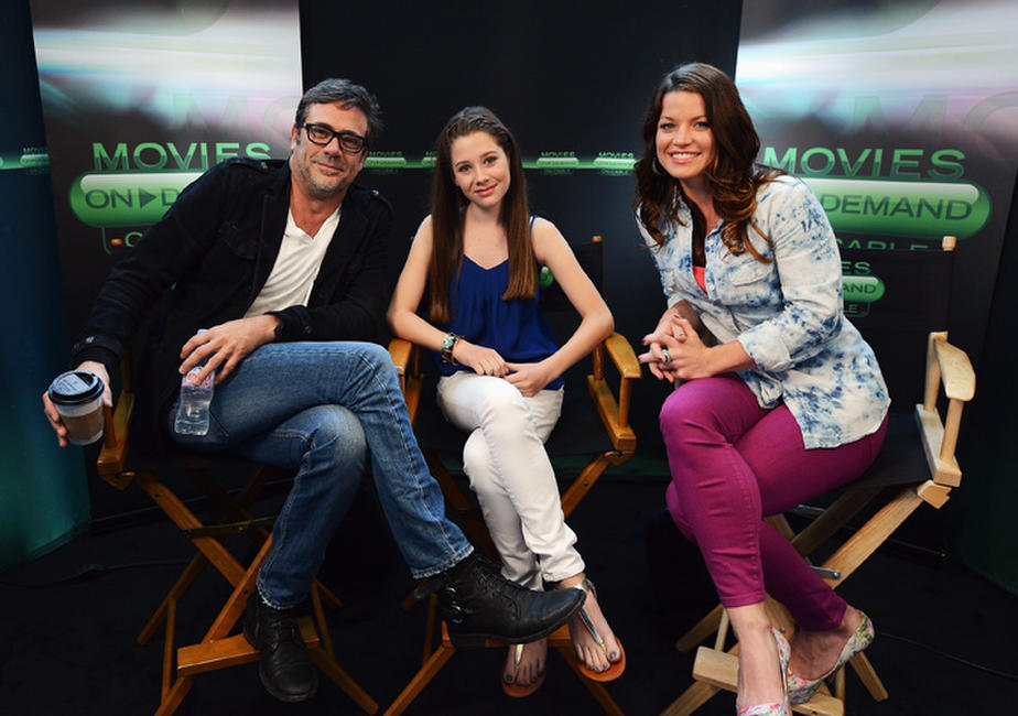 Jeffrey Dean Morgan, Natasha Calis and Camille Ford at the Hunger Games' Tributes Visit The Movies on Demand Lounge during Comic-Con International 2012 in California.