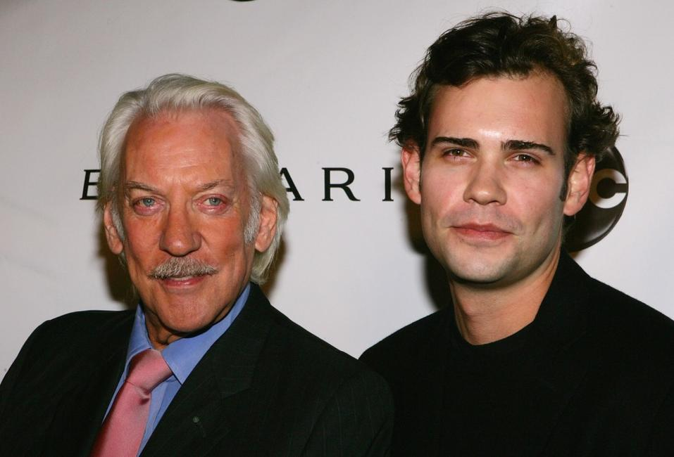 Donald Sutherland and Ross Sutherland at the premiere for