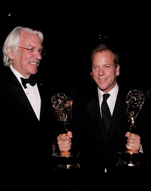 Donald Sutherland and Kiefer Sutherland at the 58th Annual Primetime Emmy Awards - Governor's Ball.