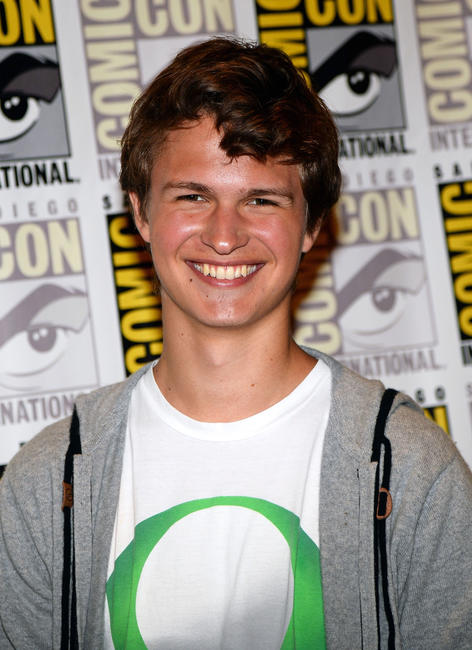 Ansel Elgort at the press line of
